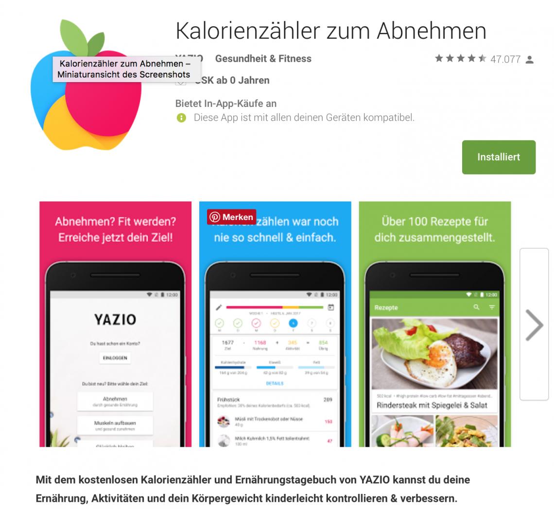 Yazio App Screenshot