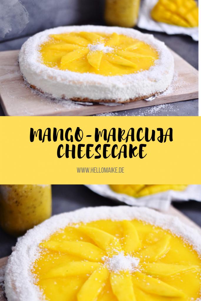Mango-Maracuja-Cheesecake mit Kokosraspeln